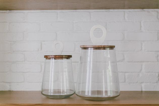 Glass Jar withMango Wood Lid& Mable Handle