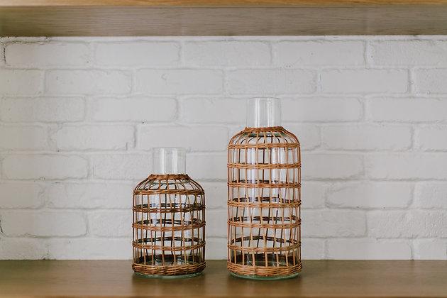 Rattan Cage Vase Carafe