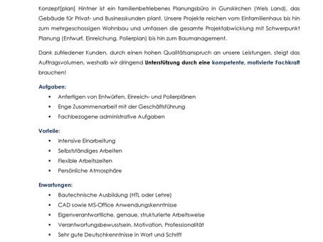Bautechnische/n Zeichner/in im Bereich Planung Hochbau (Voll-/Teilzeit)