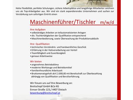 Maschinenführer/Tischler m/w/d