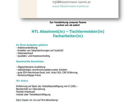 HTL Absolvent(in) – Tischlermeister(in) - Facharbeiter(in)