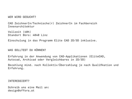 CAD ZeichnerIn/Technische(r) ZeichnerIn im Fachbereich Innenarchitektur