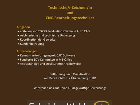 Technische/r Zeichner/in und CNC-Bearbeitungstechniker