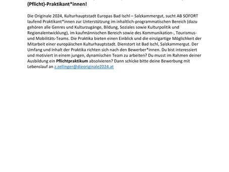 Die Originale 2024, Kulturhauptstadt Europas Bad Ischl -  sucht (Pflicht)-Praktikant*innen