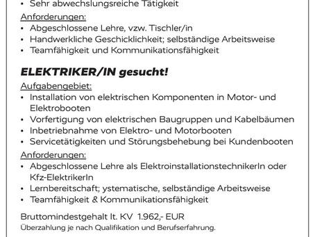 BOOTBAUER/IN und ELEKTRIKER/IN gesucht!
