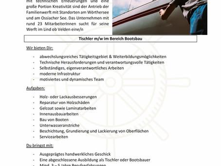 Tischler m/w im Bereich Bootsbau