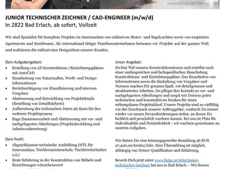 JUNIOR TECHNISCHER ZEICHNER / CAD-ENGINEER (m/w/d)
