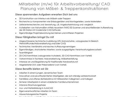 Mitarbeiter (m/w) für Arbeitsvorbereitung/ CADPlanung von Möbel- & Treppenkonstruktionen