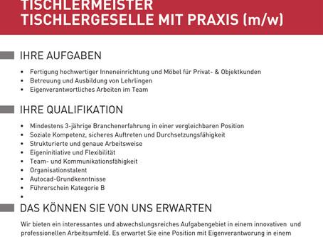 TISCHLERMEISTER, TISCHLERGESELLE MIT PRAXIS (m/w)