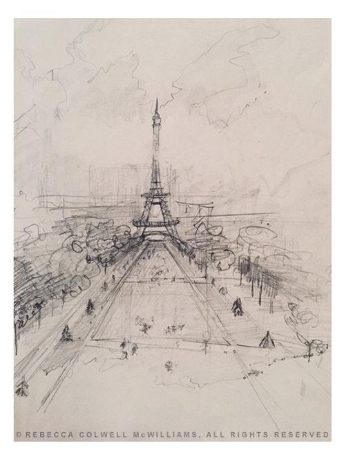 """La Tour Eiffel, 9"""" x 12"""" Print"""