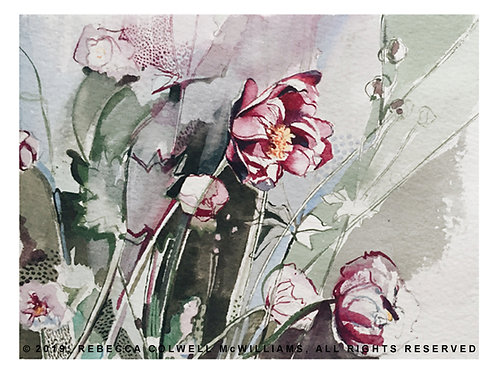"""Windflowers in Burgundy and Olive, 9"""" x 12"""" Print"""