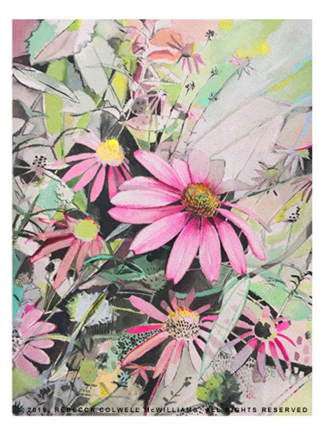 "Echinacea Oasis 7.5"" x 10"" Print"