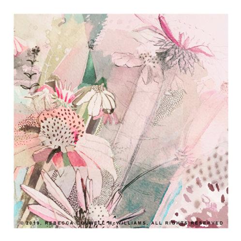 """Strawberry Coneflowers, 8"""" x 8"""" Print"""