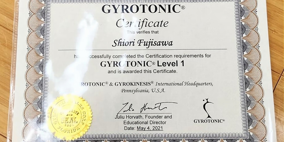 ジャイロトニック®トレーナー認定証をいただきました!