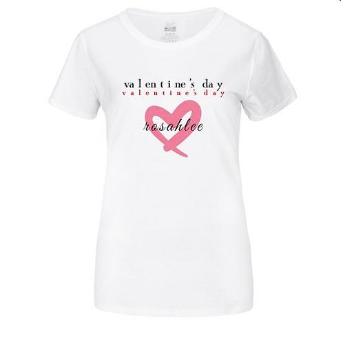 valentine's day red heart t-shirt; ladies