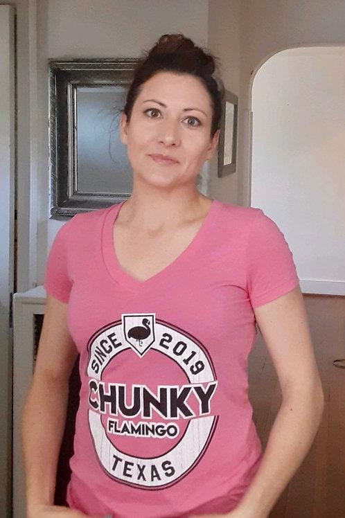 Women's Established Pink V-Tee- Triblend