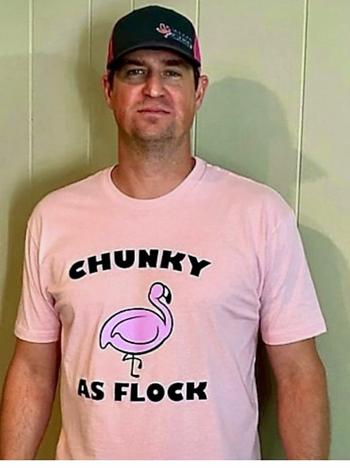 Uni-sex Pink Chunky as Flock Tee
