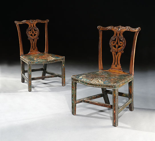 Pair of Upholstered Chippendale Chairs.j