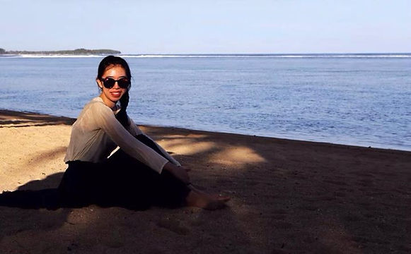 Vivien Fang at a beach in London