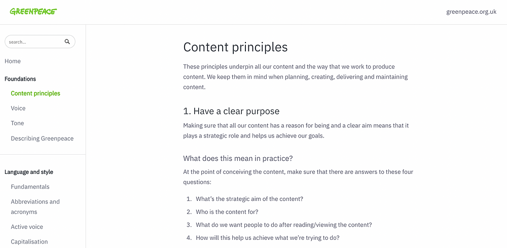Section of Greenpeace UK's online content style guide showing their content principles.
