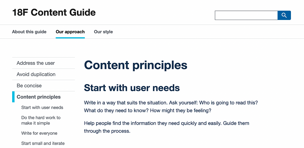 Section of 18F's online content guide showing their content principles.