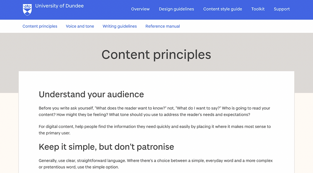 Section of The University of Dundee's online content style guide showing their content principles.