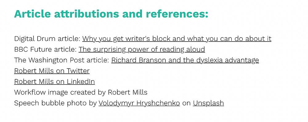 Example of an attribution and reference section at the enf of a Fourth Wall Content article listiing all referenced content with links.