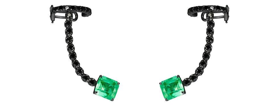 Brinco Colors Esmeralda ouro 18k Ródio Negro com Diamantes Negros