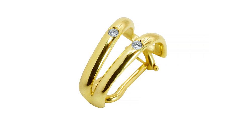 Piercing Ame em Dobro em ouro amarelo 18k com Brilhantes