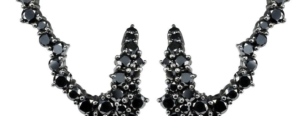 Brinco Asa Hills Diamantes Negros em ouro 18k Branco