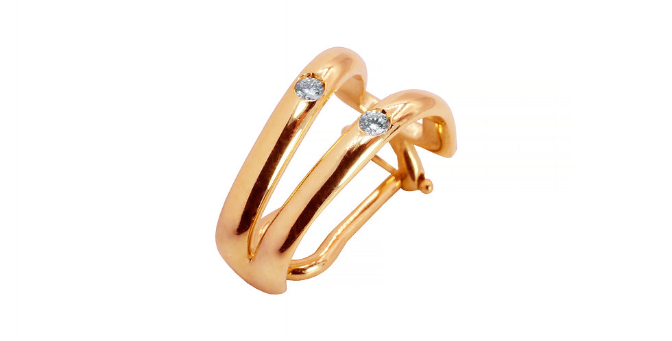 Piercing Ame em Dobro em ouro rose 18k com Brilhantes