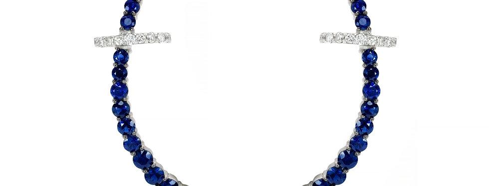 Brinco Round Safiras em ouro 18k com Piercing de Brilhantes