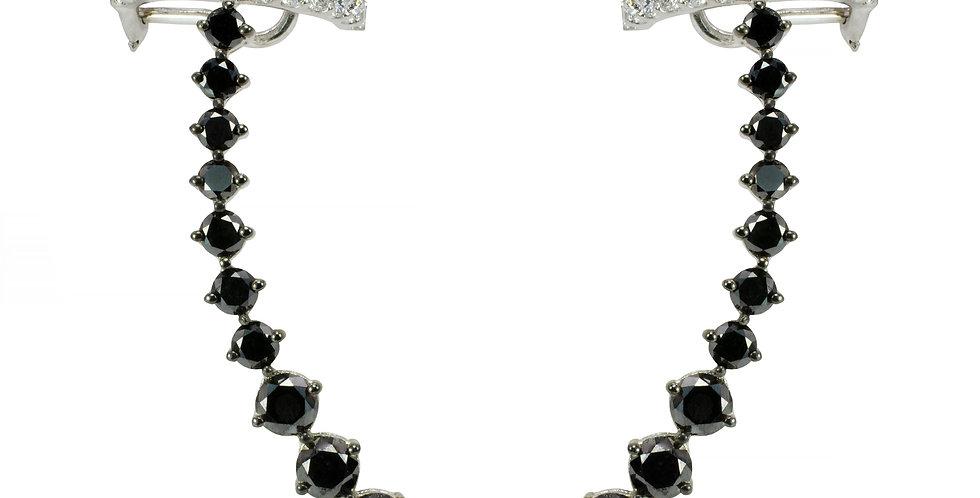 Brinco Aquarela de Diamantes Negros com Piercing de Brilhantes em ouro Branco 18