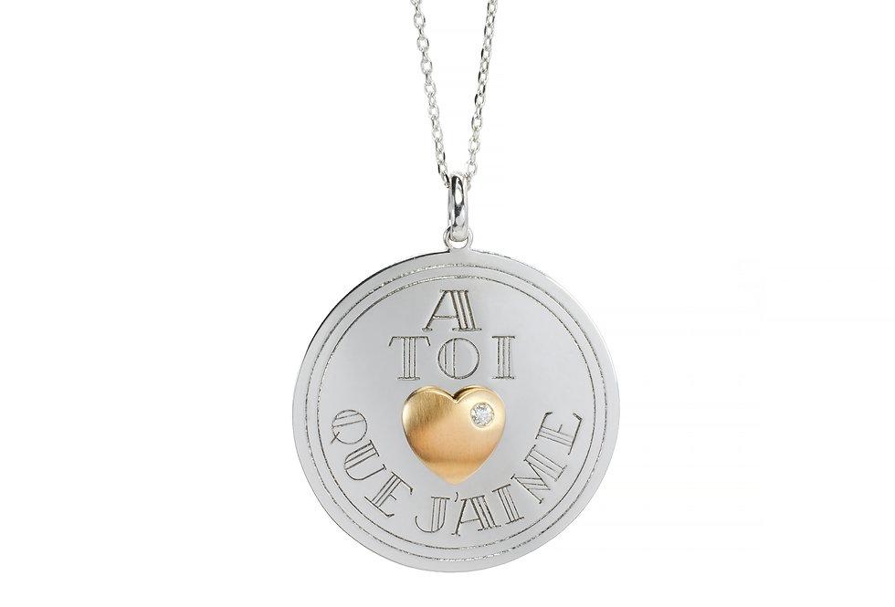 Medalha A Toi Que J'Aime com 1 Brilhante em ouro18k