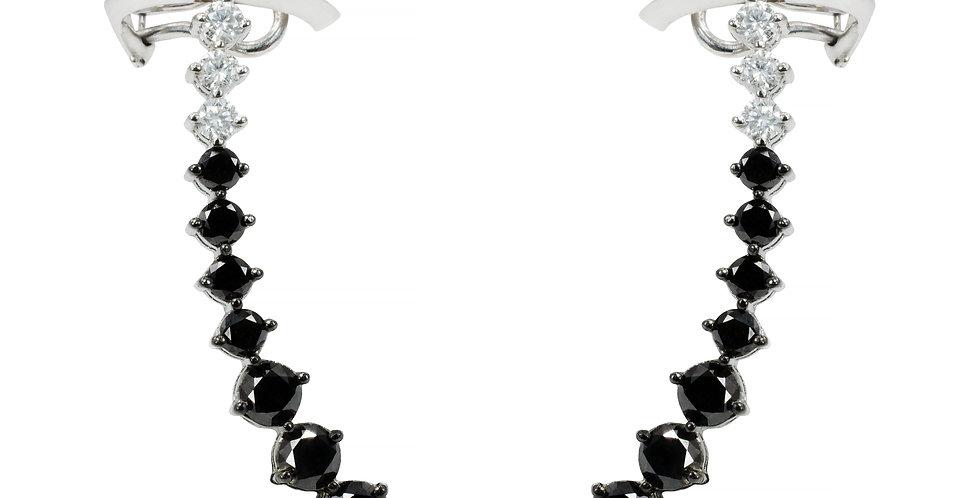 Brinco Aquarela de Diamantes Negros e Brilhantes em ouro Branco 18k