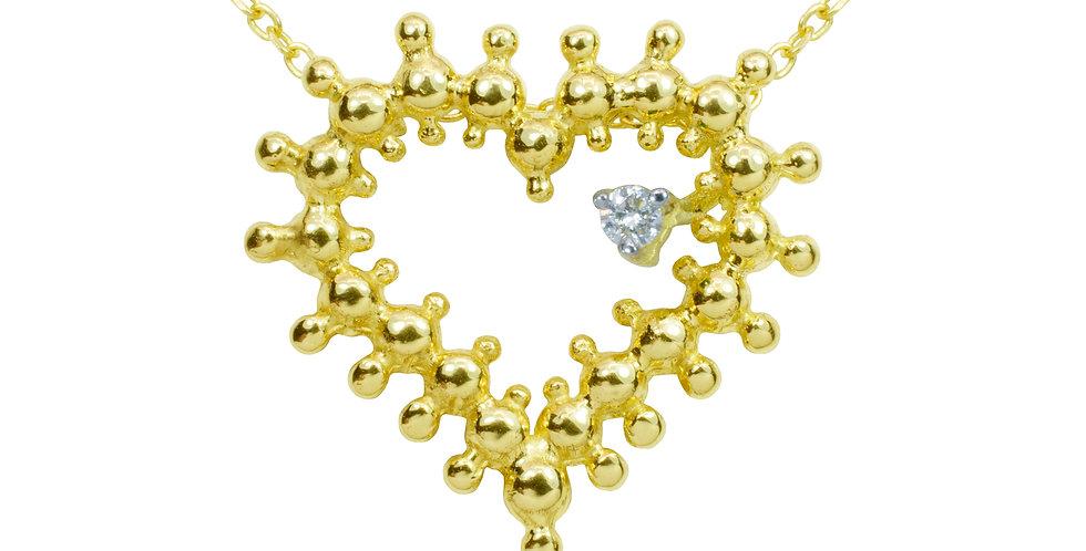 Coração do Bem em Ouro Amarelo 18k com Diamante
