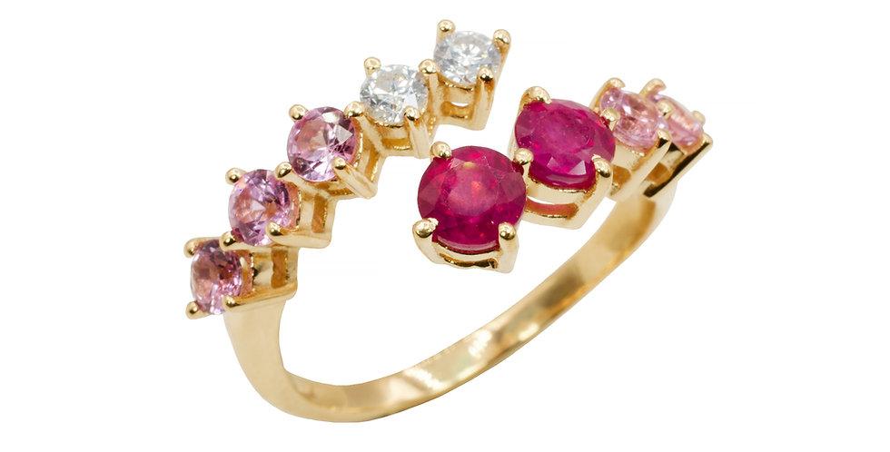 Anel Aquarela Rubis com Safiras Rosas e Brilhantes em ouro 18k