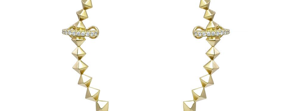 Brinco Amy com Piercing de Brilhantes em ouro 18k Amarelo