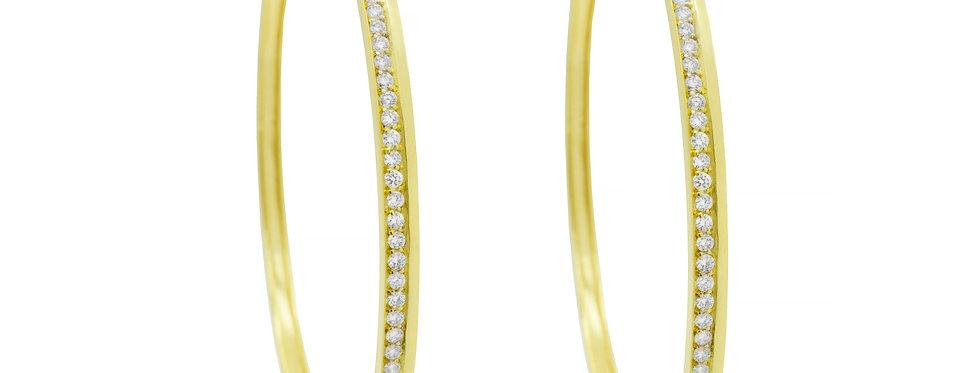 Argola Grande Ouro Amarelo 18k com Brilhantes