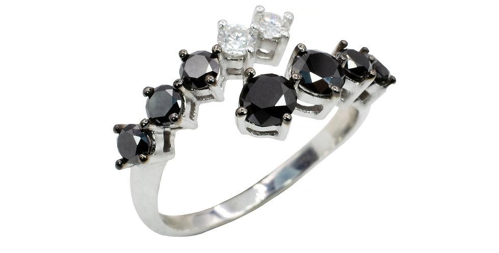 Anel Aquarela em ouro Branco 18k com Diamantes Negros e Brilhantes