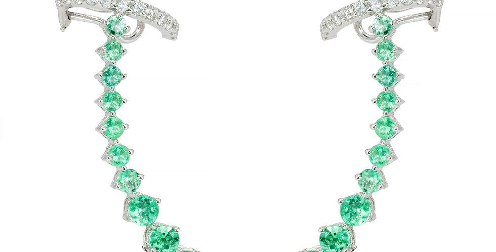 Brinco Aquarela de Esmeraldas com Piercing de Brilhantes em ouro Branco 18k
