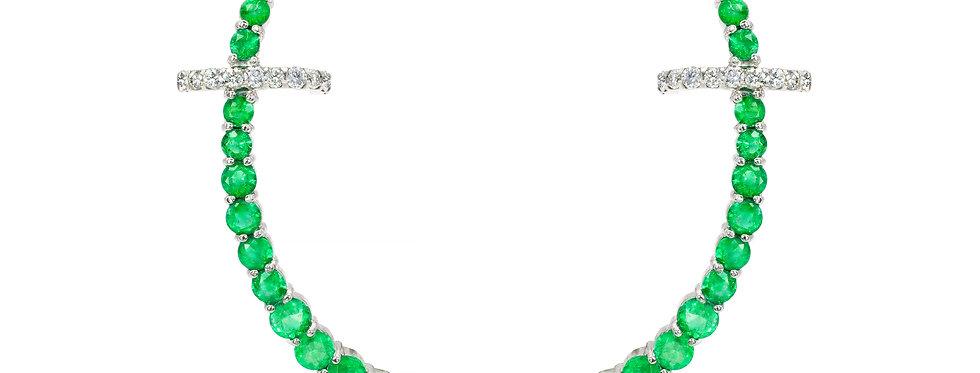Brinco Round Esmeraldas ouro 18k com Piercing de Brilhantes