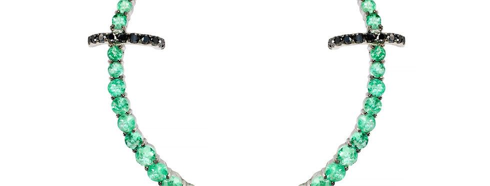 Brinco Round Esmeraldas ouro 18k com Piercing de Diamantes Negros