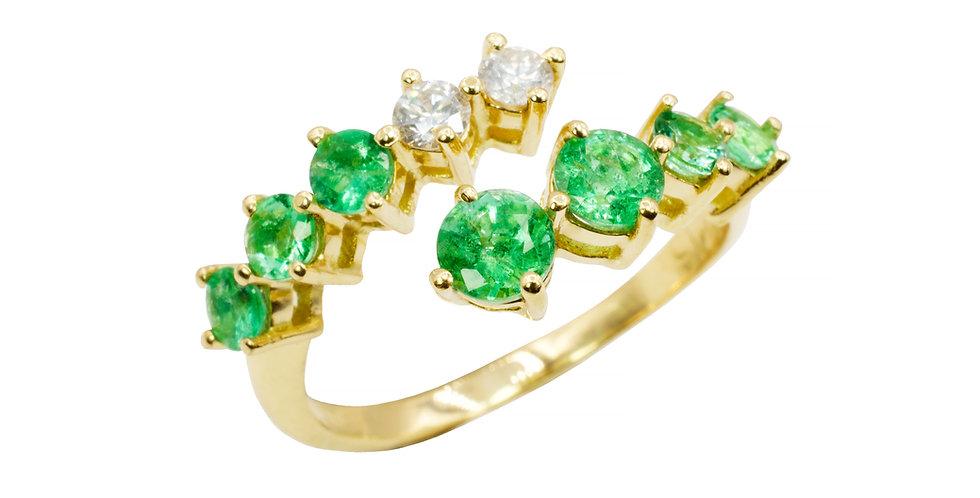 Anel Aquarela de Esmeraldas com Brilhantes em ouro Amarelo 18k