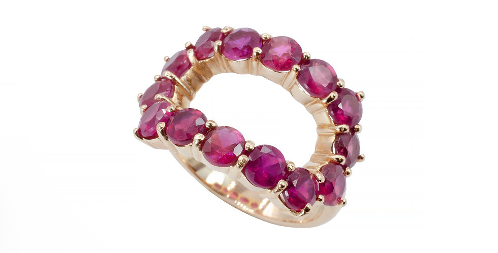 Anel Oval Rubi ouro 18k Rose