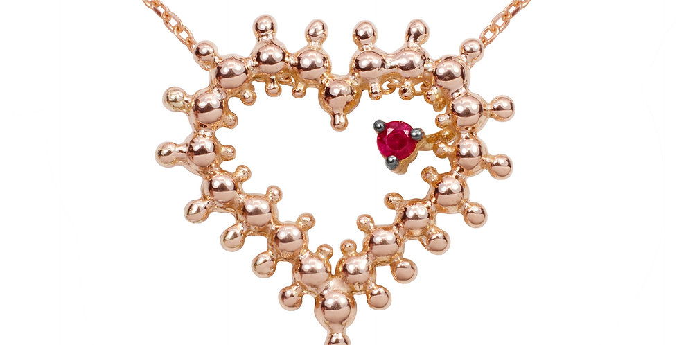 Coração do Bem em Ouro Rose 18k com Rubi