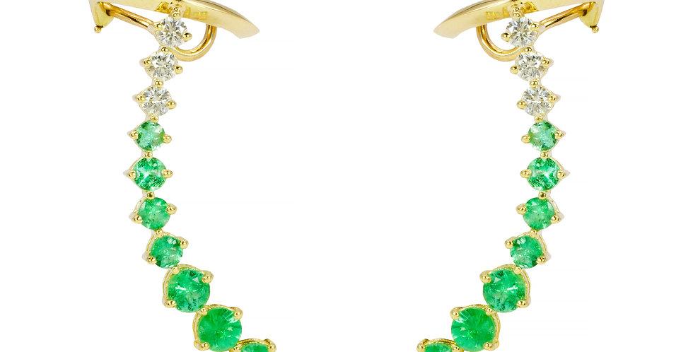 Brinco Aquarela de Esmeraldas e Brilhantes em ouro Amarelo 18k