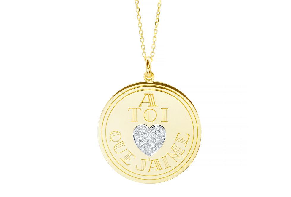 Medalha A Toi Que J'aime com Brilhantes ouro 18k