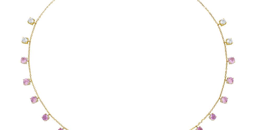 Choker Aquarela com Rubis, Safiras Rosa e Brancas em ouro Amarelo 18k