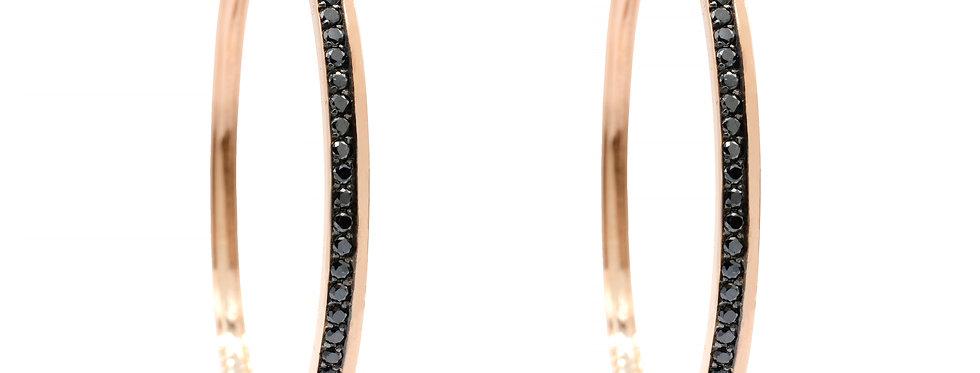 Argola Grande em Ouro Rose 18k com Brilhantes Negros
